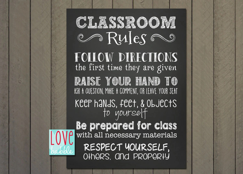 Classroom Class Rules Chalkboard Printable Digital File