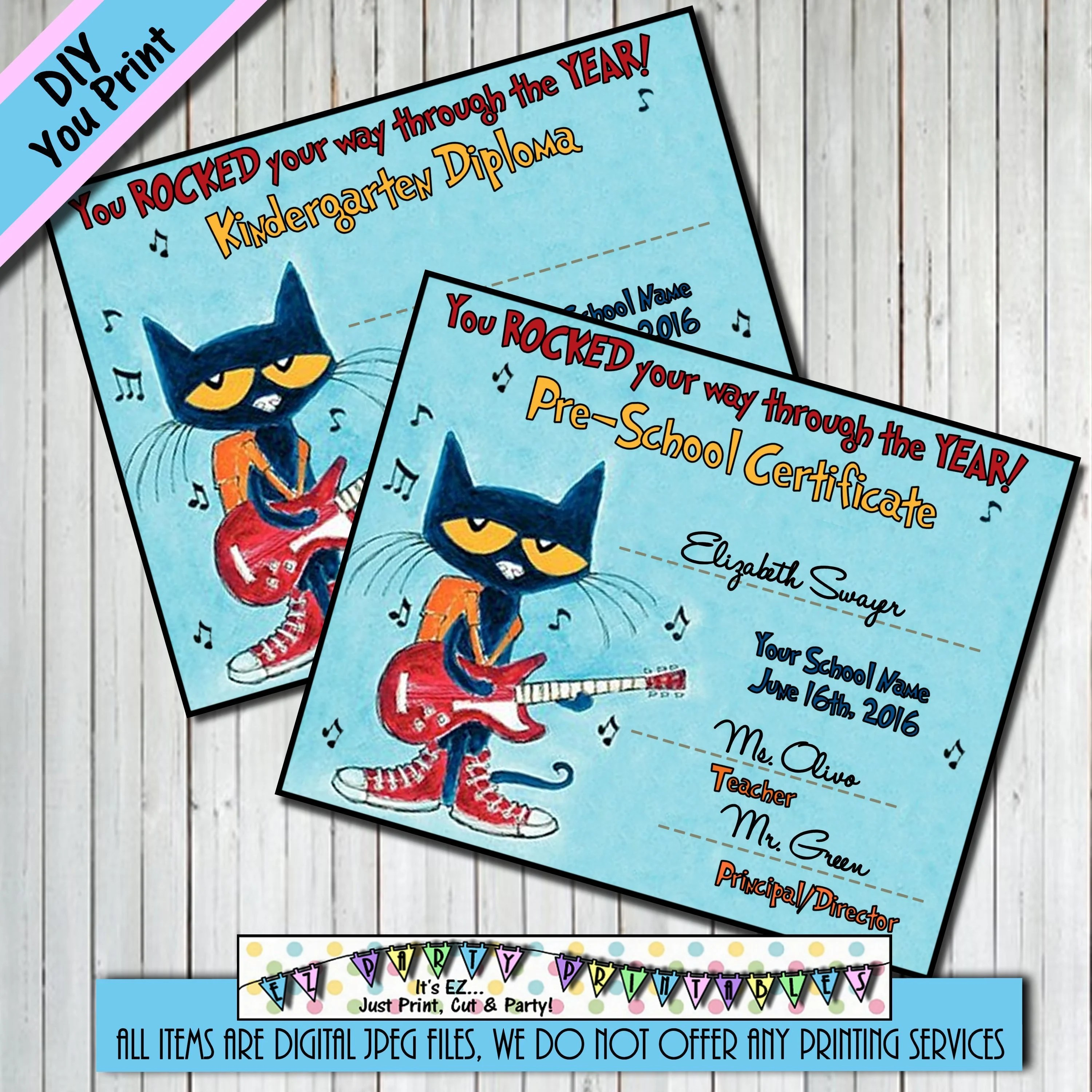 Pete The Cat Graduation Diploma Or Certificate And