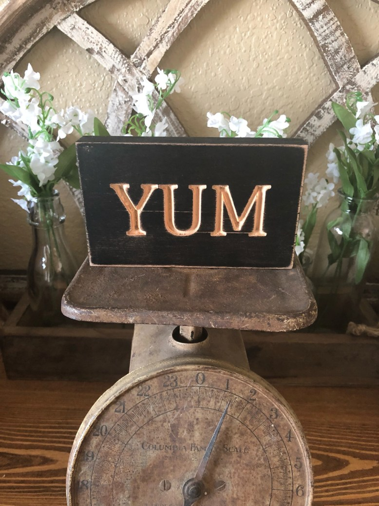 Wood Engraved Yum Sign...