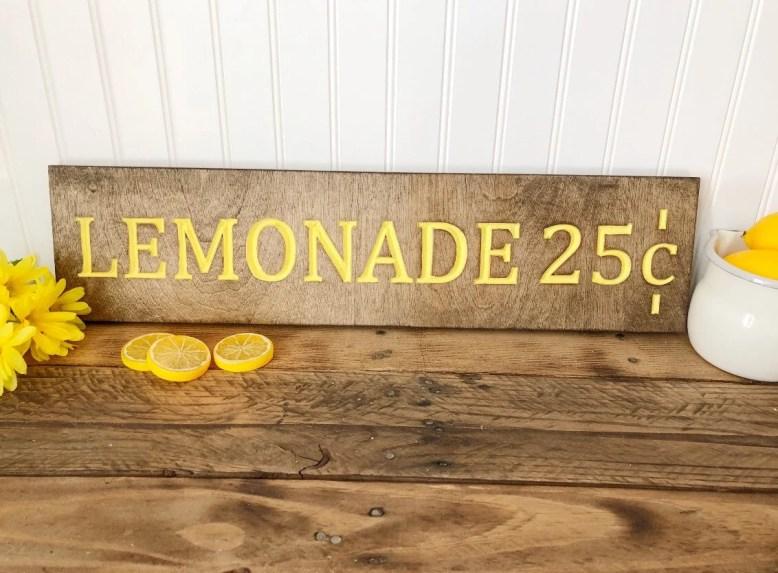 Lemonade Wood Engraved Si...