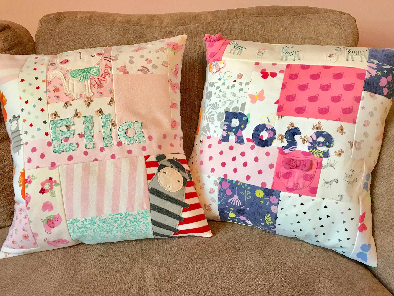 patchwork memory cushion keepsake pillow baby clothes cushion