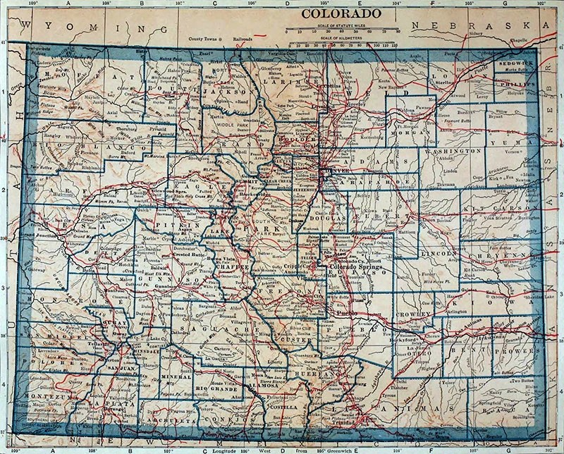 Colorado map 1921 scanned version of an old original map of   Etsy