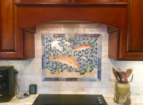 diy ceramic tile mosaic redfish backsplash etsy