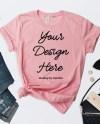 Flat Lay Styled Pink Shirt Mockup Bella Canvas 3001 Outfit Etsy