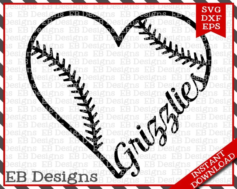 Download Grizzlies Baseball Love SVG DXF EPS Cutting Machine Files ...