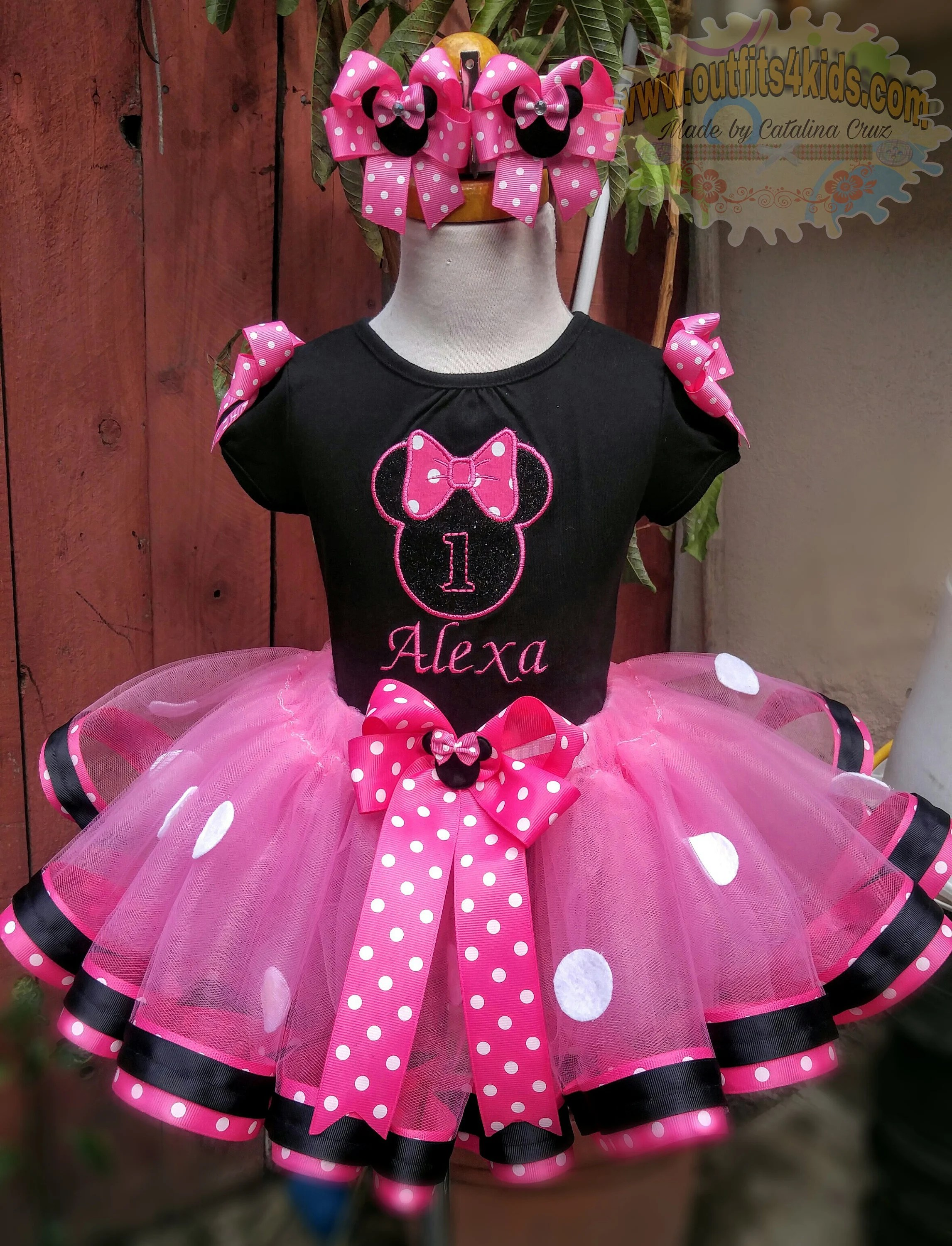 Personalized Minnie Mouse Birthday Tutu Outfit With Matching Etsy