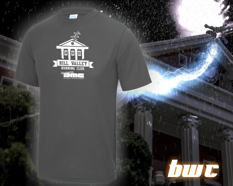 Back to the Future: Hill Valley Running Club fitness/running tee shirt