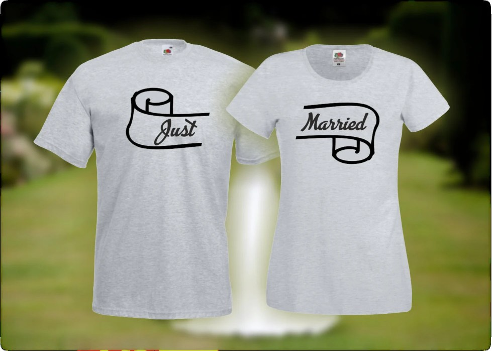Just Married t-shirt - His & hers matching t-shirts - Honeymoon t-shirts