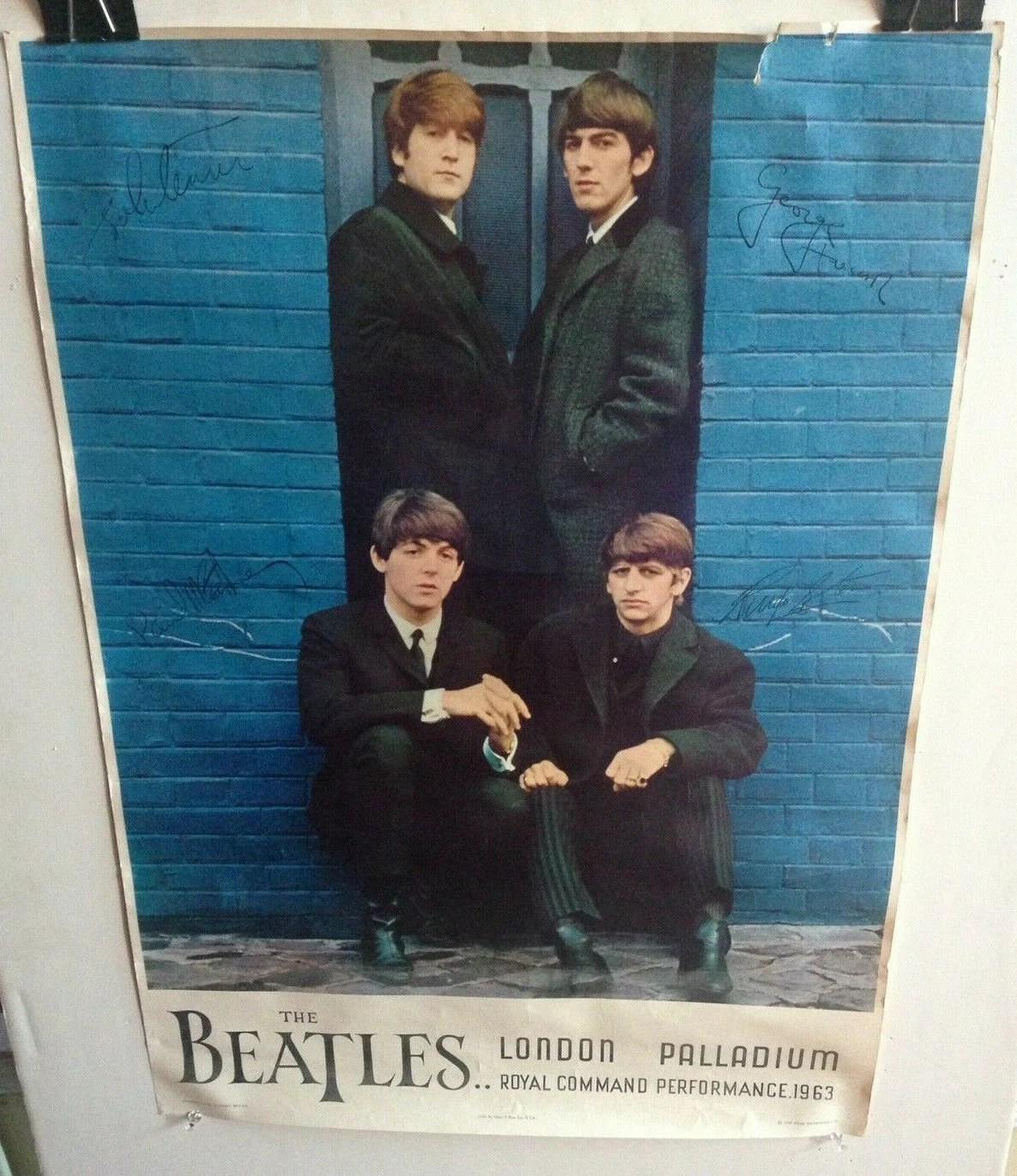 original 1964 beatles poster london palladium royal command performance