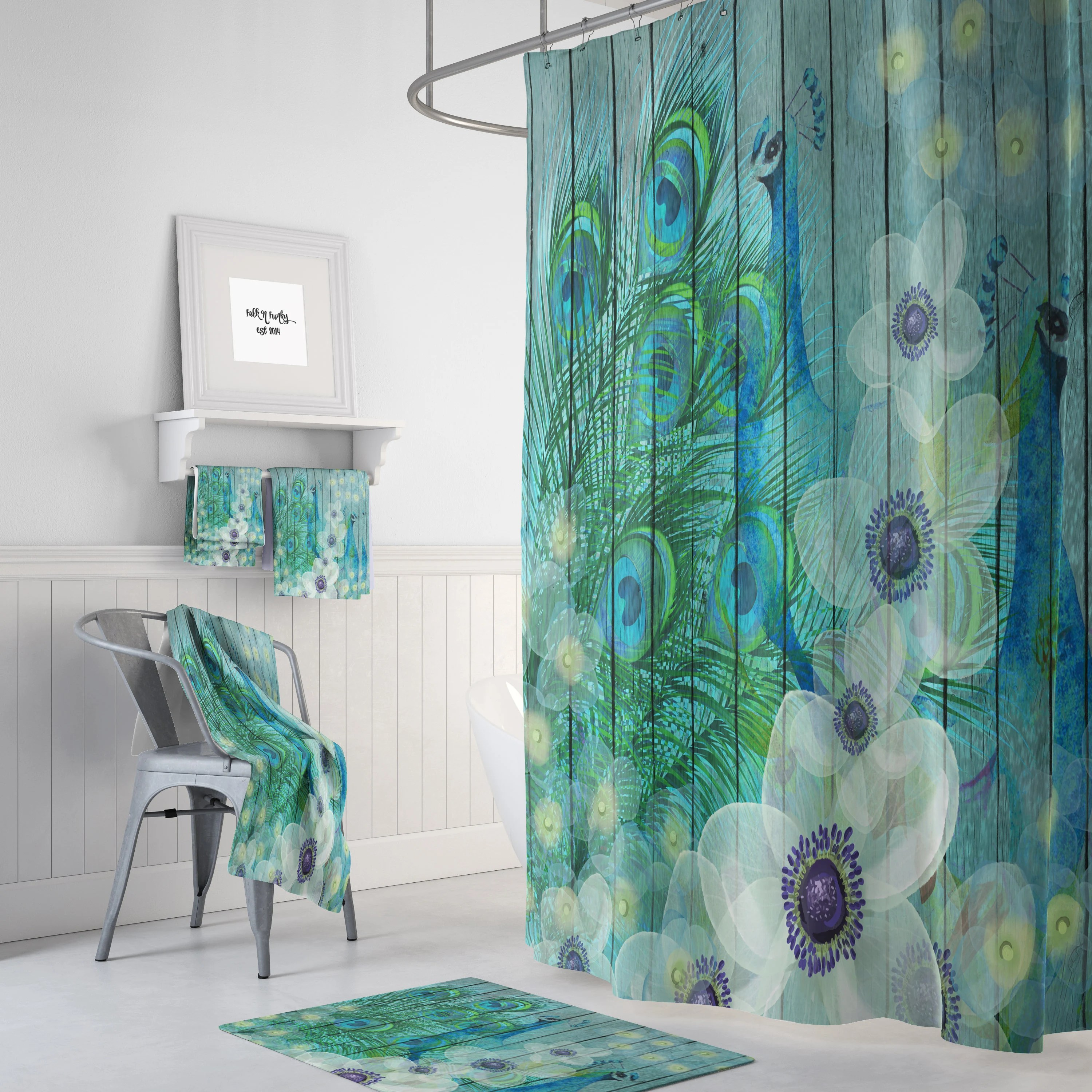 peacock shower curtain teal floral faux wood peacock decor peacock feathers