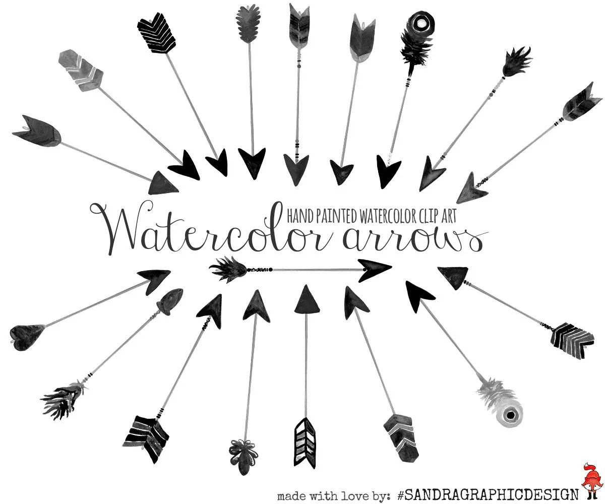 Black Watercolor Arrows Clip Art Hand Painted Watercolor