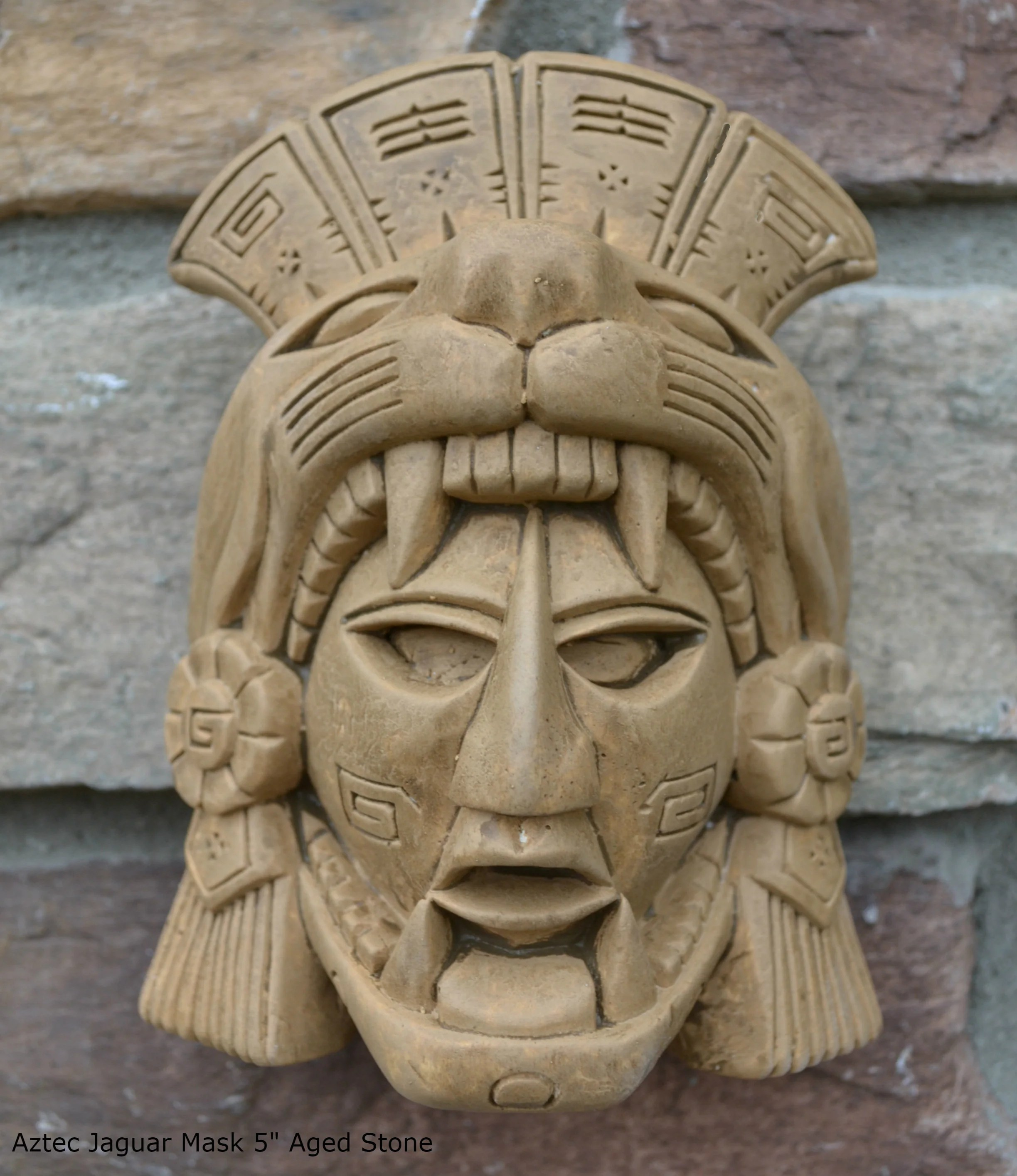 History Aztec Maya Artifact Warrior Mask Jaguar Sculpture
