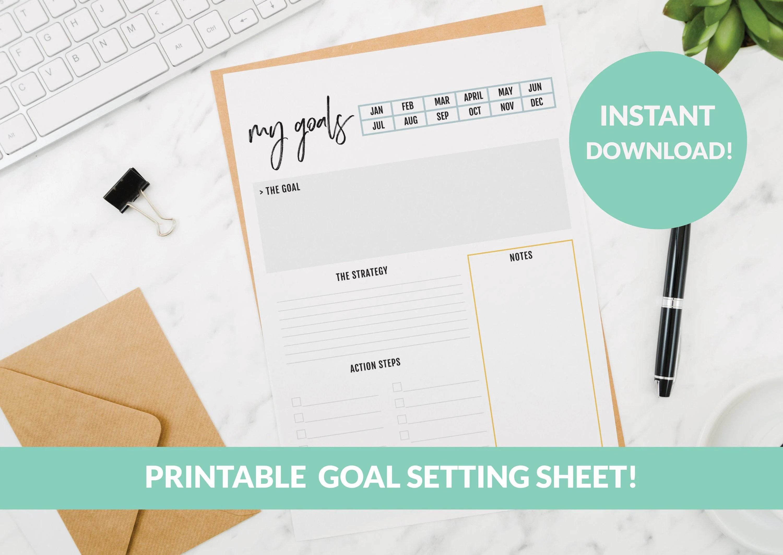 Printable Goal Setting Worksheet Monthly Goal Setting