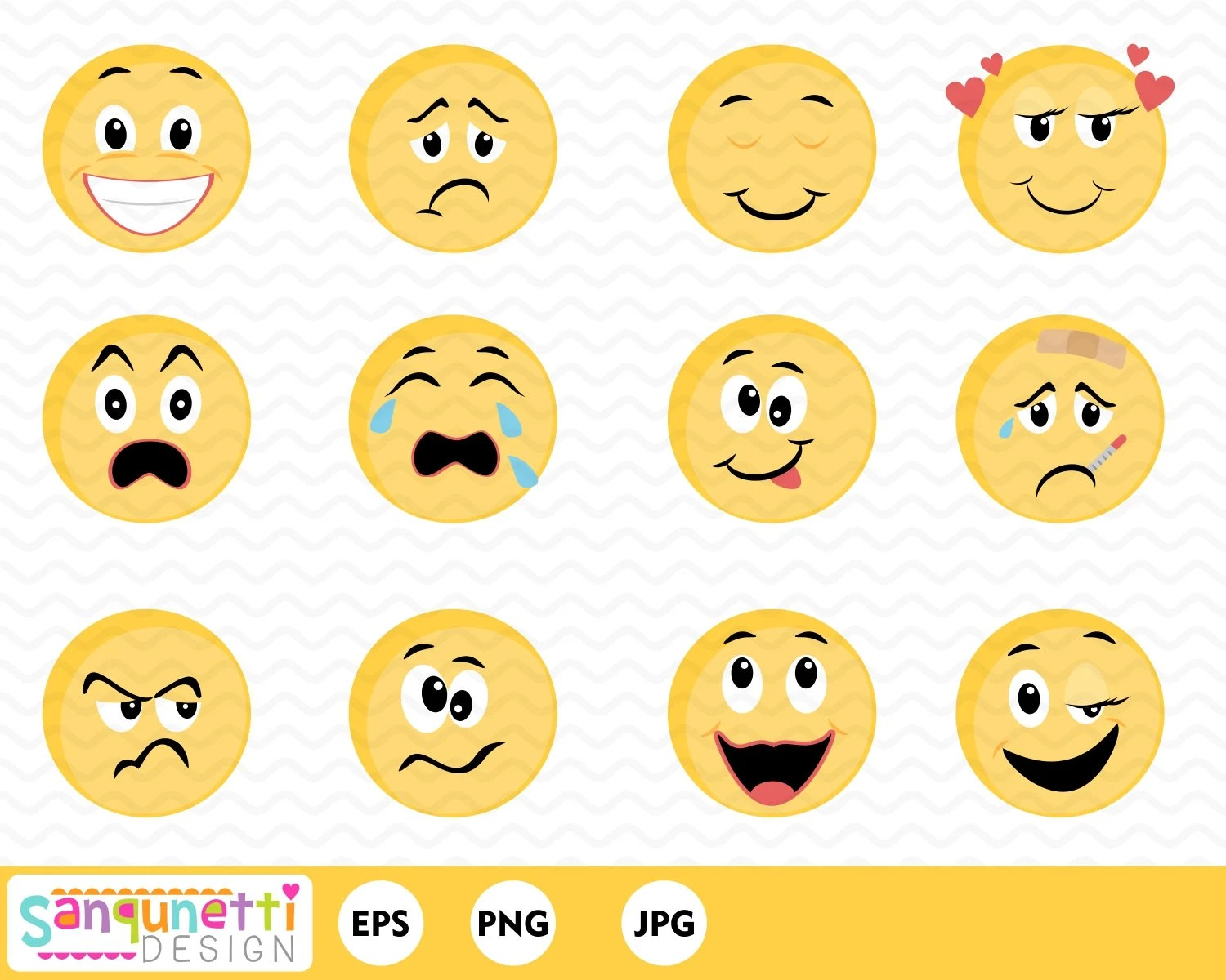 Smiley Face Feelings Clipartemoji Digital Art Instant