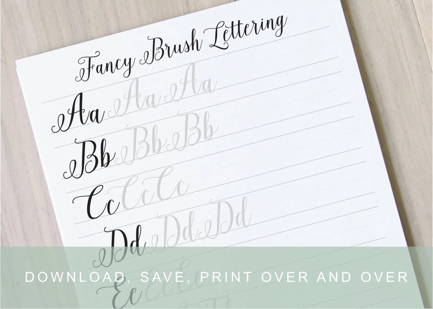 Fancy Brush Calligraphy Lettering Worksheets Calligraphy   Etsy