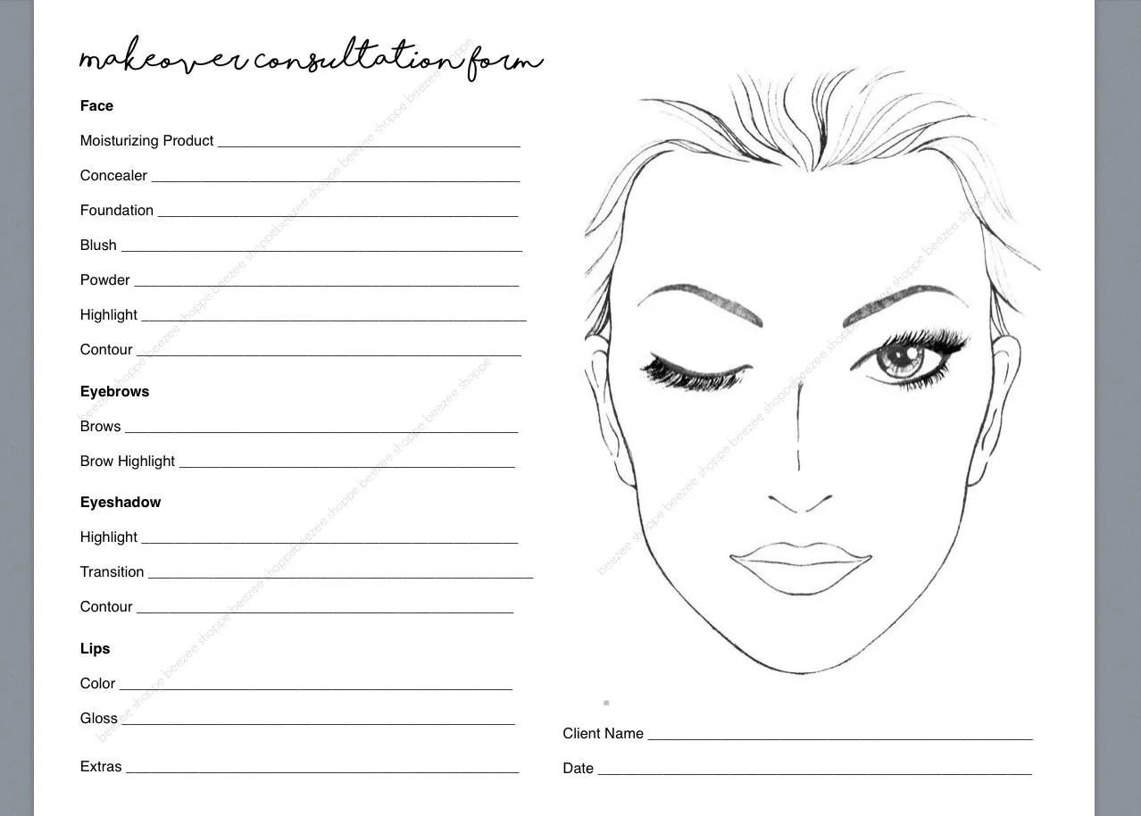 Makeup Consultation Form Makeover Form Makeup Artist
