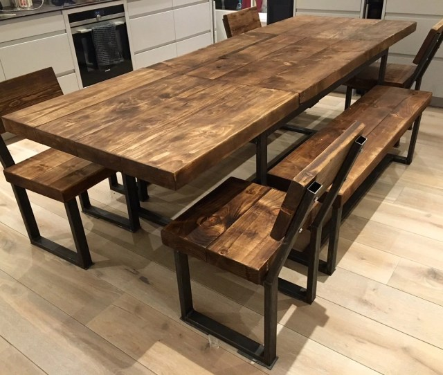 Reclaimed Industrial Chic 6 10 Seater Extending Dining Table Bar Cafe Restaurant Furniture Steel Solid Wood Metal Made To Measure 104