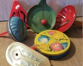 6 Vintage Party Noisemakers or Clackers, New Years Eve, Birthdays, Tin Noisemakers