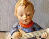 Vintage Goebel Hummel - 53 V Bumble Bee - Joyful circa 1950 – 1955 Girl with Guitar Made in Germany Figurine Knick Knack Figure