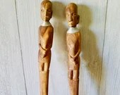 Wooden Spoon Fork African Art Tribal Utensil Salad Mixers/ Hand Carved Bride Groom Face Kitchen/ Cooking Gift Set