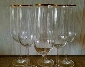 Set of4 Champagne glasses/ Gold Rimmed/Vintage