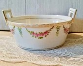 Vintage Handpainted Nippon Porcelain Bowl with handles-pink roses, Small serving bowl- Antique Vintage- Soap Dish, Candy