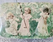 Vintage Celluloid Jewelry Box Victorian Children Maypole