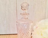 Beautiful Cut Glass Decanter w/Stopper ~Rounded Bottle Tapered To Neck/ Elegant Bar Decor