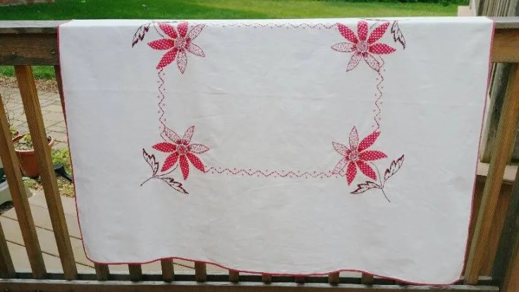 Vintage Tablecloth, Cream color with red flowers, red border, 50's tablecloth
