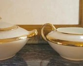 Saxon China 18K gold Creamer and sugar bowl/  French / no 6090G