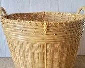 Large Whicker Basket, Vintage Handmade Gathering Basket Made in the People's Republic of China 1970's