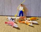 Vintage Fisherman Cake Topper With 6 Colorful Fish / Birthday Cake Topper/ Cake Decoration