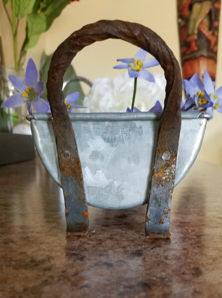 Antique Wrought Iron Tray/ Handmade Tin/ Very Good Condition/ Planter/ Kitchen