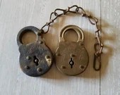 2 Vintage Padlocks /Superlever and Irons Sides Six Lever Padlocks / Antique Locks