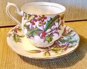 TEACUP AND SAUCER, English Bone China By Royal Albert, Flower of the Month Series, Holly Pattern