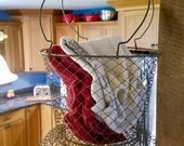 Vintage Large French Wire Mesh Fishing Basket  Vegetable Storage, Kitchen Storage