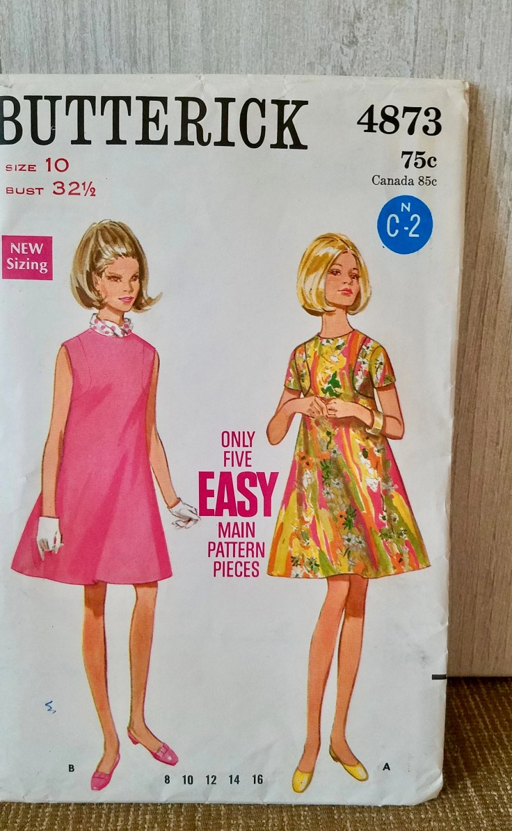 1960's High Fitted Tent Dress, Front Seaming Detail, Jewel Neckline, Short Sleeves or Sleeveless, Misses Size 10, Butterick 4873