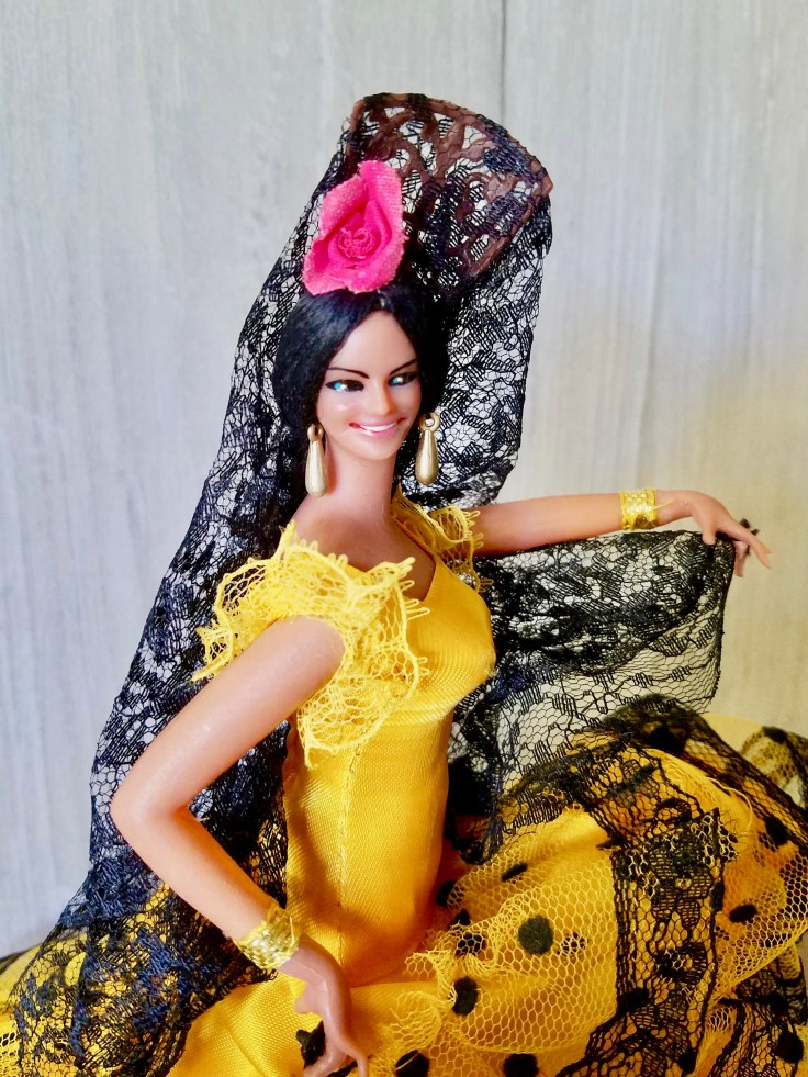 Vintage Doll VINTAGE Marin Chiclana Spanish Flamengo Doll with Lace Yellow Dress / 1960's/ Made in Spain/ Marin