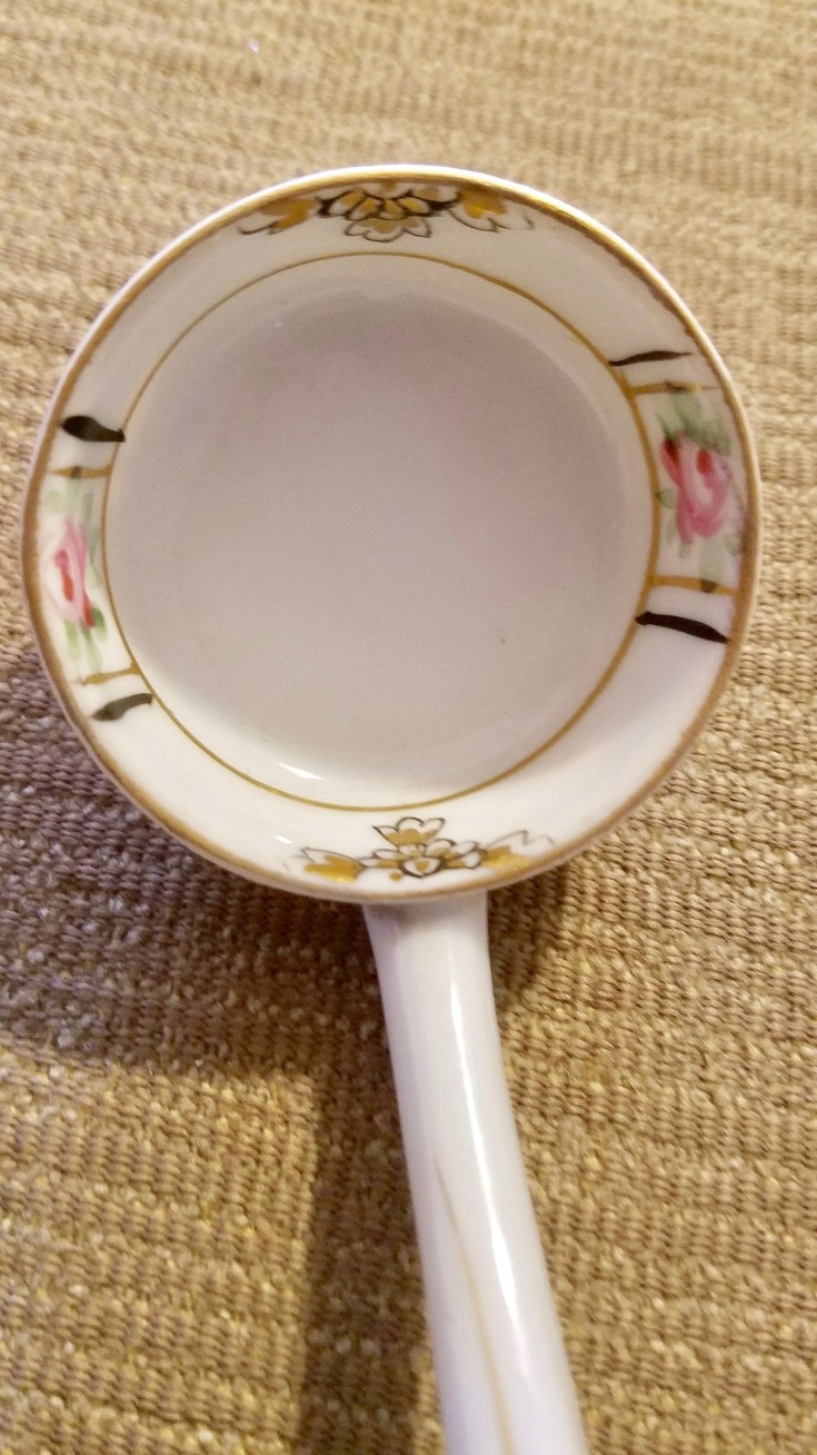 Sweet Vintage Little Pink Floral Mayonnaise Spoon Embellished with Gold Accents, Hand Painted Nippon Porcelain Ladle or Spoon