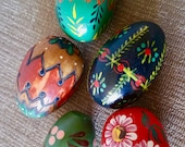 Vintage Painted Eggs / 4 wooden eggs / Vintage Eggs/ Easter Gift / Nested Eggs
