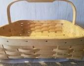 "Large woven basket,handmade ,light brown basket,13""x12 1/2""x8"",kitchen storage, thick wood handle,"