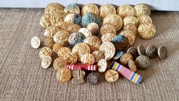 50 US Naval Uniform Buttons/ 1940's Anchors Brass Eagle and Shield /Vintage WWII Military Brass Buttons/ With Pins