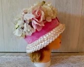 1950s 1960s Vintage Pink Hat Floral Rose Millinery / Ladies/ girls Summer Spring Tea Party /Cottage Wedding