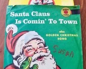 Vintage Santa Claus Is Coming To Town Childrens Record Golden Records 45 Rpm, collectable / Mitch Miller and Orchestra/ copywight 1955