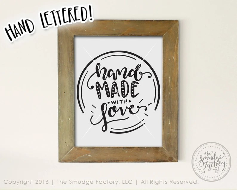 Download Handmade With Love SVG Handmade Cutting File Hand Lettered ...
