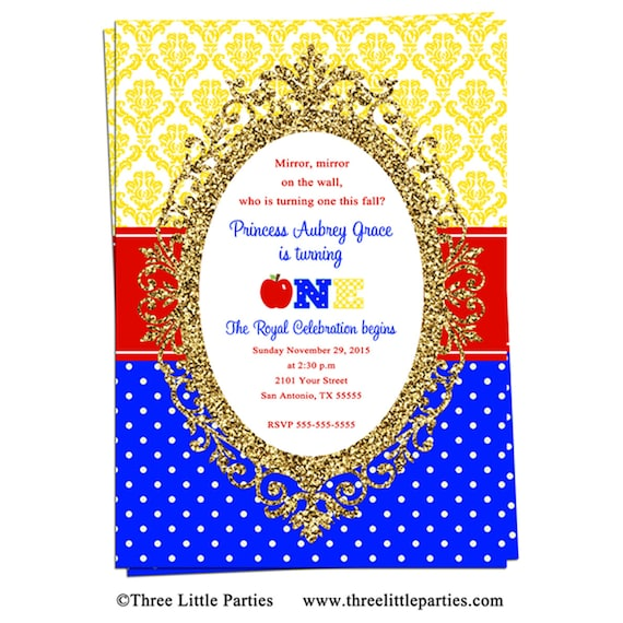 snow white birthday picture invitation