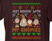 Just Hangin With My Gnomies Cute Christmas Gnome Lover T-Shirt