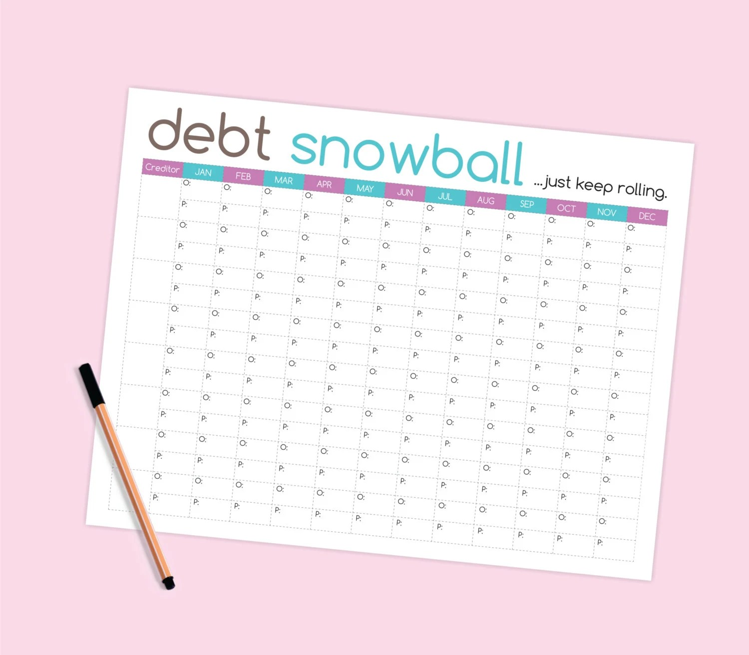 Debt Snowball Worksheet Budget Printable