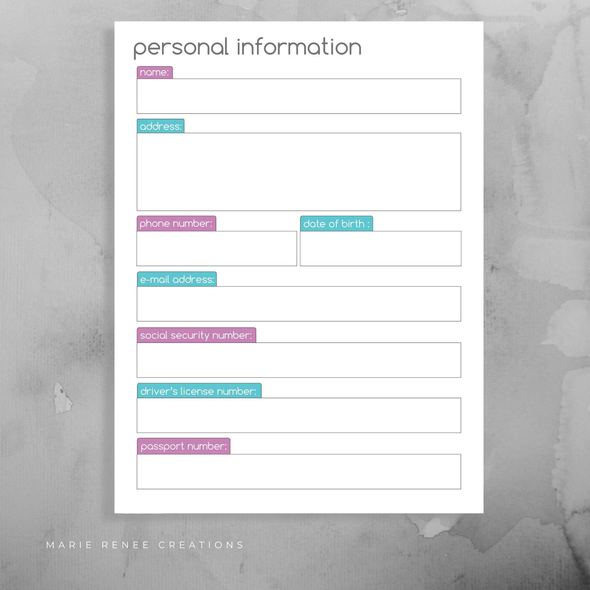 Personal Information Worksheet Info Form Printable