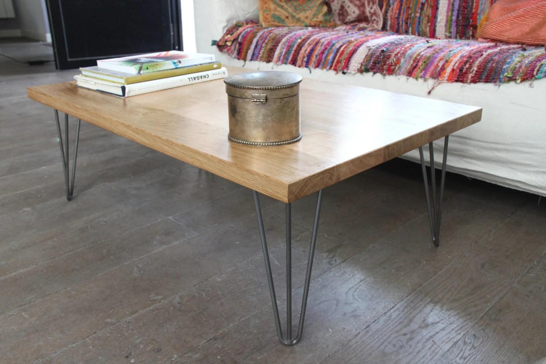 table basse bois massif et pied epingle acier vernis sur mesure